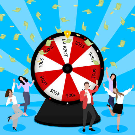 Wheel of fortune. People enjoying celebrating of win in lottery. Vector luck winners win in gambling game in casino, success play roulette and money cash prize jackpot illustration