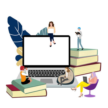 Study online concept. Vector remote education, distance training school, students studying sit on stack books and laptop, university learning illustration Illusztráció