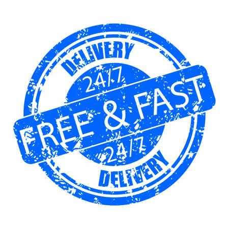 Rubber stamp seal delivery free and fast, 7 days 24 hours. Vector seal vintage, delivery stamp label, imprint grungy illustration Illusztráció
