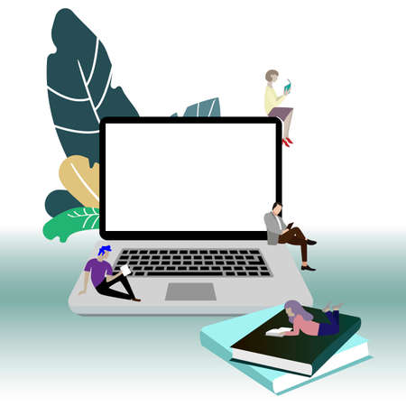 Reading online concept. Online learning and read, distance e-learning, webinar tutorial using laptop. Vector learning books people, illustration learning online and casual studying Illusztráció
