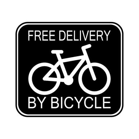 Signboard free delivery by bicycle. Vector service sign transportation fast, express and speed courier, food and pack illustration