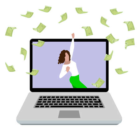 Woman enjoying money prize. happy girl win in online lottery. Award in betting online, gamble game in internet casino, money prize. Vector illustration. Sport reward, successful prediction bet