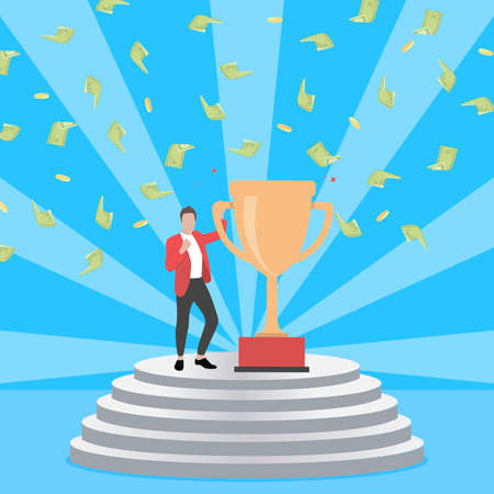 Winner staying on pedestal with golden goblet. Vector pedestal with success man holding golden cup, celebration money jackpot, illustration businessman with trophy, victory competition