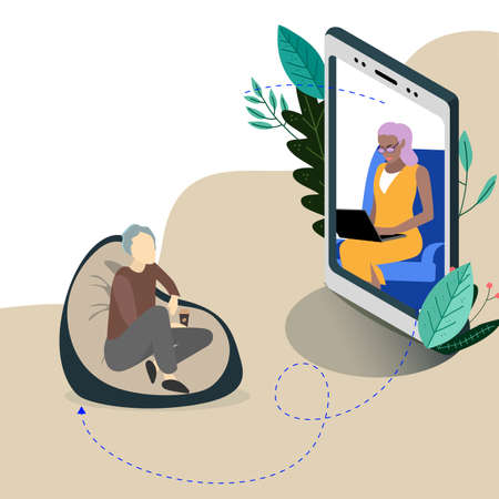 Online psychologist assistant service, vector support therapy and consultation, mental counseling psychotherapy, patient remote illustration Illusztráció