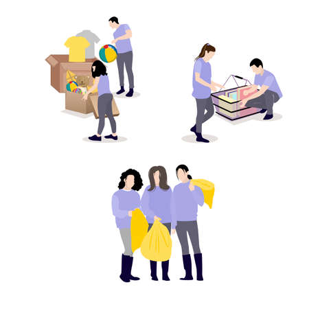 Volunteers collect needed things to give children and beggars. Vector assistance and care, social charity, help volunteering community, support and donating illustration Illusztráció