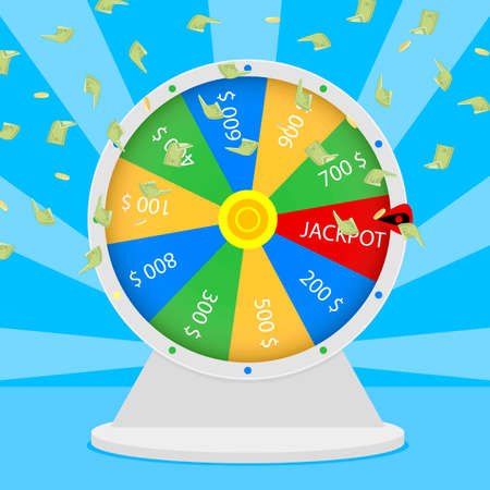 Win jackpot in wheel. Lucky game gambling, prize win in roulette, casino jackpot entertainment, vector lucky spin and illustration jackpot prize