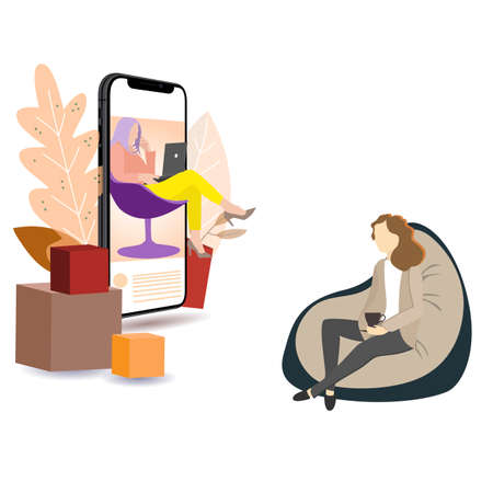 Counseling online and distance psychotherapy, psychoanalysis and help deal with depression. Vector counseling woman, psychological therapy illustration Vektorgrafik