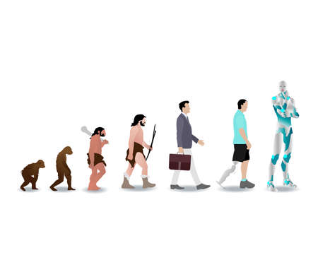 Evolution human to robot cyborg, history man evolve. Vector ancestor development mankind, illustration progress primate and animal to ai