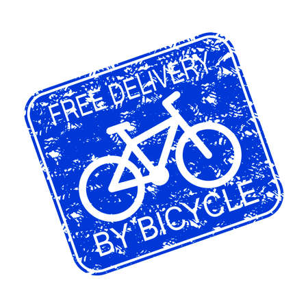 Free delivery by bicycle, rubber stamp icon. Vector texture stamp commercial for quick and free courier, bike transport delivery on all order illustration