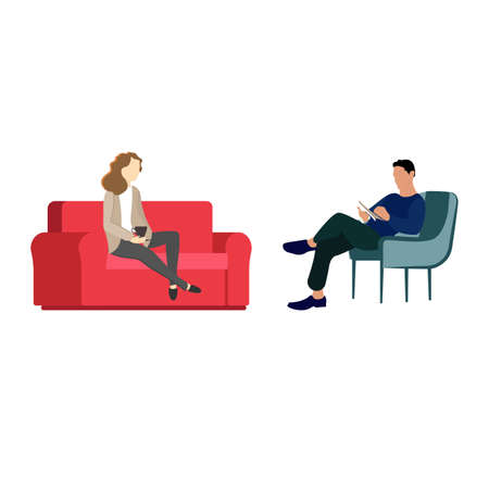 Professional psychological assistance, psychotherapist working with patient, psychiatry help, medical therapy by physician, solving appointment psychiatrist. Vector illustration Vectores