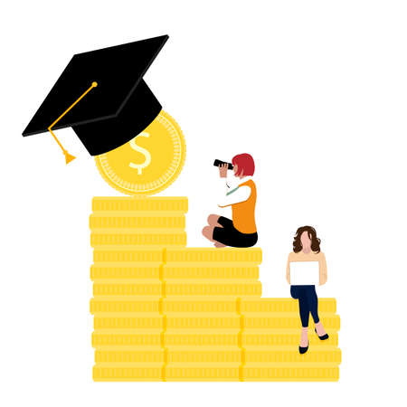 Students with financial grant to get education. People on golden coin stack scholarship. Money for college education and graduation university, vector illustration