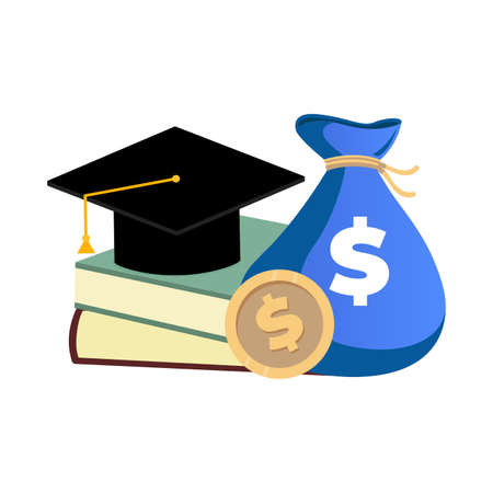 Scholarship concept, money and books for college education. Scholarship investment in college or school, cost of study, graduation chance. Vector scholarship award illustration