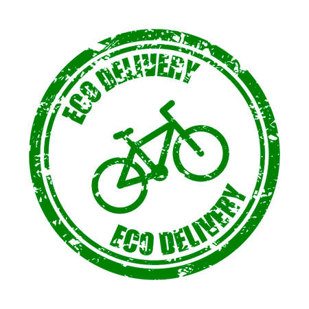 Eco delivery by bicycle, green rubber stamp texture. Round seal for food delivery service. Vector symbol mark for fast food pack, illustration service deliver by bike, express order and carry Illusztráció