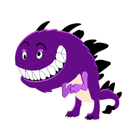 Purple cute monster smiling isolated on white background. Vector character scary alien, cartoon halloween goblin illustration 免版税图像 - 157818103
