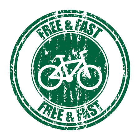 Free and fast delivery rubber stamp. Vector grunge rubber seal, service express print, courier bicycle illustration, shipping order icon, receiving pizza ink Illusztráció