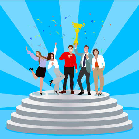 Successful business team enjoying achievement on pedestal. Group of happy partners celebrate win. Vector startup success, illustration best reward, professional trophy and business triumph