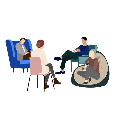 Group psychological support. Anonymous addict alcoholic, psychology medicine consultation, aid psychological, help patient with addiction drug or gambling. Vector illustration Illusztráció