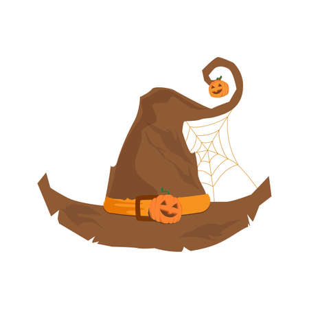 Accessory wear for witch, symbol traditional creepy decoration, clothing for sorcery with spider net, hat halloween vector illustration isolated Illusztráció