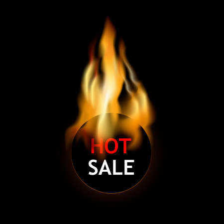 Hot sale label burning fire. Discount and price tag, badge sticker in fire, business shopping. Vector illustration, promotion flame poster Illusztráció