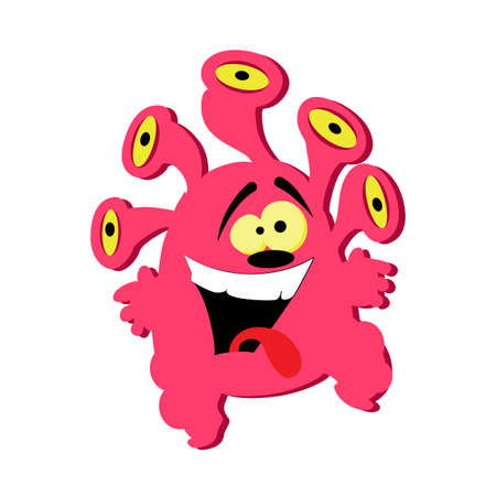 Funny pink monster with group of eyes isolated on white. Illustration crazy active goblin and monster, cartoon goofy toy, gremlin clipart mascot vector