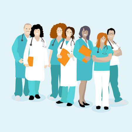 Medical staff team, doctors physician and nurse. Vector doctor line front team, nurse and medical worker, dentist and professional surgeon illustration 向量圖像