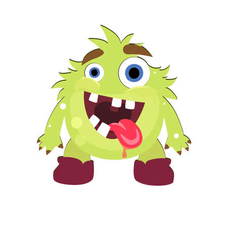 Mad green monster with opening mouth and stick out tongue. Illustration troll halloween, goofy gremlin creature, cute ugly goblin face vector Illusztráció