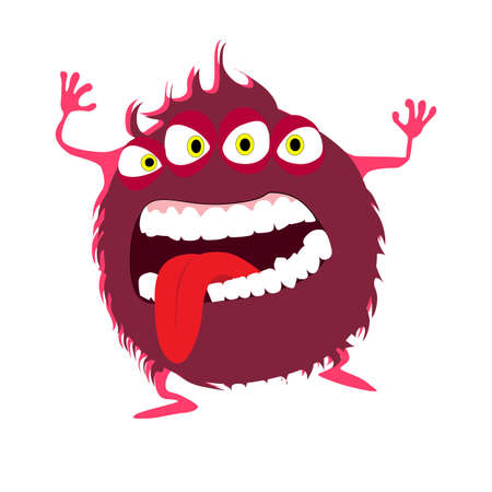 Red color goblin with devil eyes, goofy toy frighten kids, cheerful mascot with crazy mouth expression and tongue, vector illustration