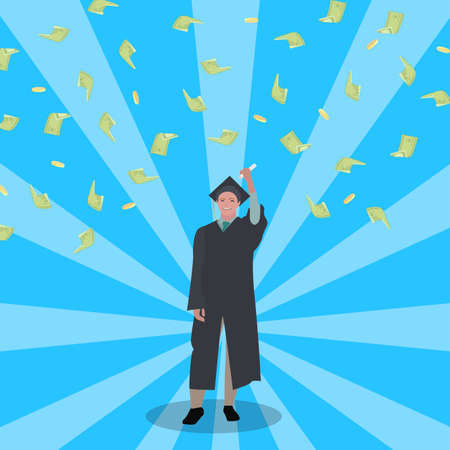 Happy student win grant to study. Scholarship concept. Vector student enjoying money scholarship to study in college, successful achievement illustration, financial grant award