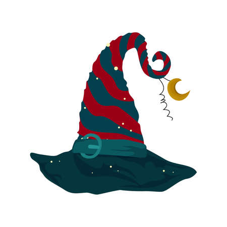 Christmas hat for fabulous characters elf or dwarf. Vector christmas holiday costume. Illustration decoration new year costume helper