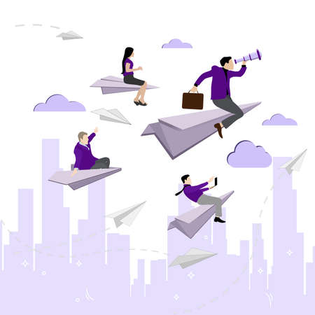 Leader with team fly to goal. Vector innovation and opportunity, rise challenge concept, woman and man trying successful illustration. Businesman seek to goal, make effort