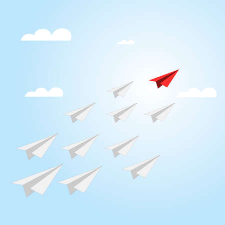Red paper plane leads business team. Paper plane vector flying and follow team to success. Illustration vision business competition, management boss motivation