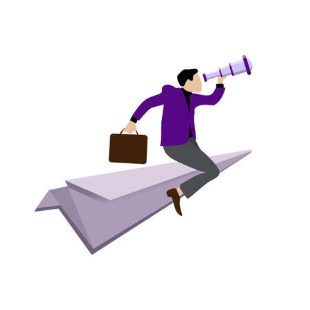 Businessman flying on paper plane to searching investment. Looking for new idea and source of money. Leadership man with telescope looks in future of business. Vector illustration confident man