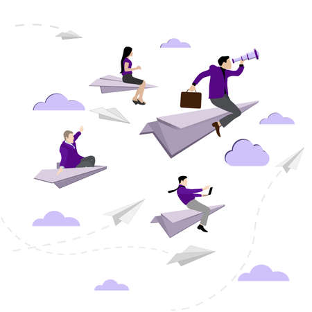 Business team flying on paper plane. Confident people on paper airplane, leadership vision, management searching, manager follow to professional, vector illustration 向量圖像