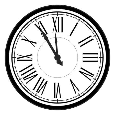 Five minutes to midnight, new year celebration, traditional countdown to new year, flat roman numeral dial, twelve hour watch