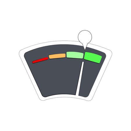 Equipment finance guage for credit bank application. Vector meter score level, measure customer finance possibilities illustration