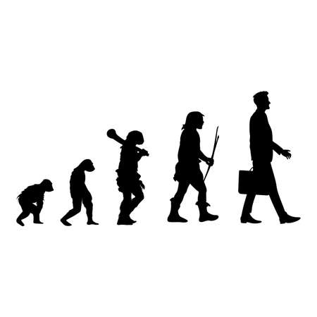 Human evolution black silhouette, from ape to man. Vector human silhouette, monkey and caveman, walking homo graphic evolution illustration, history primate development