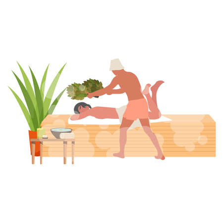 Massage in sauna with hot broom. Spa bathhouse, hot therapy room with massage, birch leaf for health, temperature warm healthy. Vector illustration