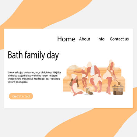 Bath family day page, healthy relax spa. Father mother with kids rest in bathhouse. Vector healthy hygiene and hygiene illustration Stock Illustratie