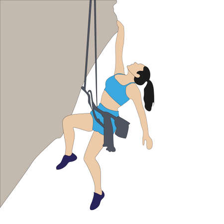 Woman hang on rock cliff, extreme solo cimbing. Climber go to up to mountain, risky accomplish, vector woman mountaineer illustration