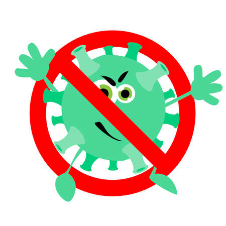 Prohibition coronavirus character, not infected banner, ban illness microbe with eyes, warning covid-19 and pneumonia, vector illustration