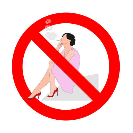 Forbidden cigarette icon, prohibition habit smoke, no toxic banner, banned and not recommended to pregnant woman, unhealthy habit. Vector illustration 矢量图像
