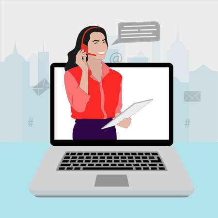 Call center online, girl operator help and assistant illustration.