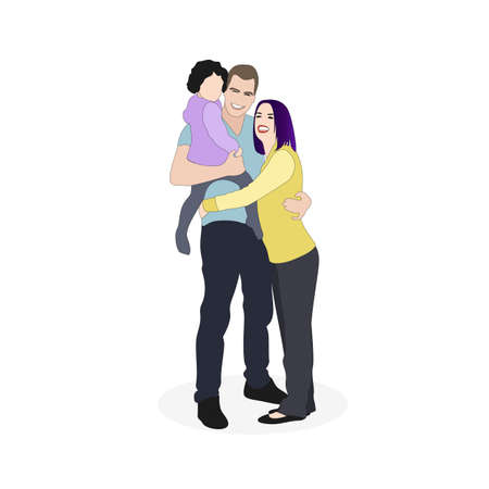 Happy family father mother and child. Couple with kid, parents hugs together child, cheerful kid smiling, vector illustration 矢量图像
