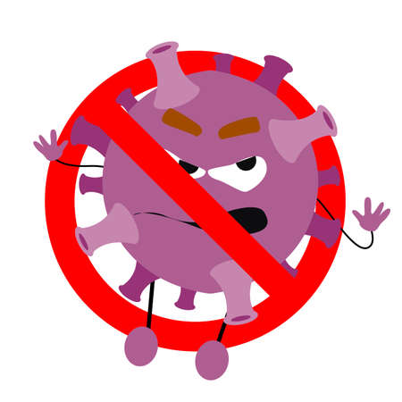 No coronavirus monster, microbe prohibition, ban epidemic outbreak, organism virus covid-19 banned. 矢量图像