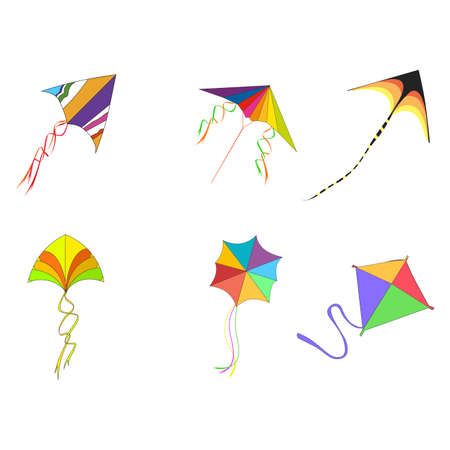 Flying kites with rope and colored pattern to playing kids or celebrating makar sankranti, outdoor activity in childhood. 矢量图像