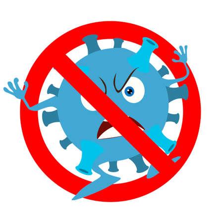Prohibition coronavirus icon, monster virus banned. Non infected and not illness, ban micro organism. Vector illustration