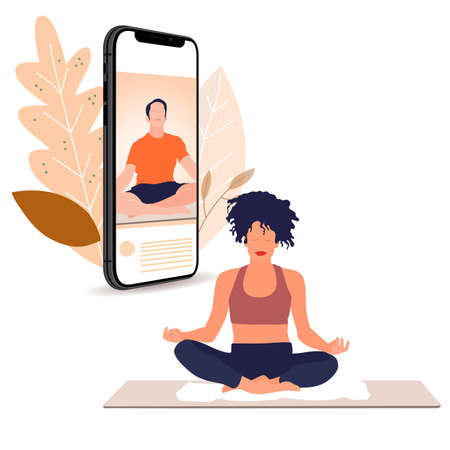 Yoga lesson online, stream live on smartphone. Vector live streaming on smartphone, video fitness and meditation, man teach lesson for slim girl, balance meditating blogger illustration.