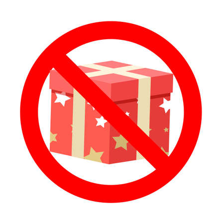 Banned gift icon symbol badge. Vector prohibition banner, warning icon package, information rule no box xmas, prohibited and attention party illustration