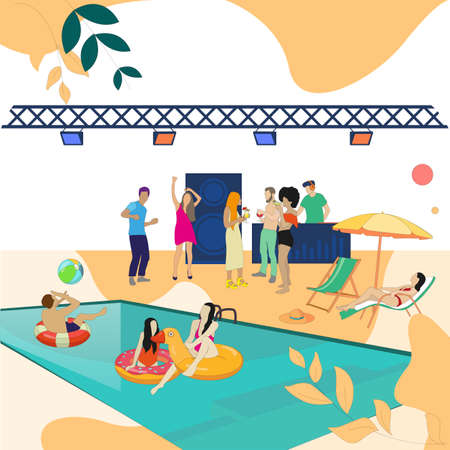 Pool party event, people dance and enjoy. Vector summer dance, character swimmer near swim, discotheque poolside, swimwear disco illustration