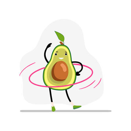 Avocado sport with gymnastic ring. Avocado happy and health, sport vegetable character, fruit food. Vector illustration 矢量图像
